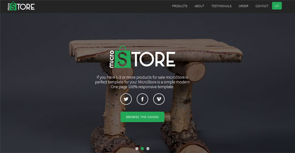 MicroStore onepage HTML ecommerce template